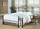 Coaster Queen Size Antique Gold Finish Metal Bed Headboard & Footboard