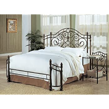 coaster queen size antique gold finish metal bed headboard footboard