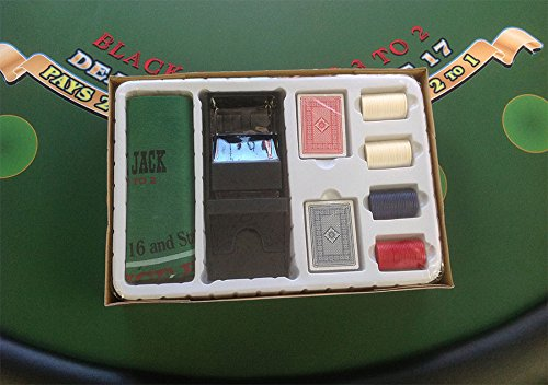 Blackjack Set Casino Style Includes: Felt Layout-Shoe-Cards and Chips