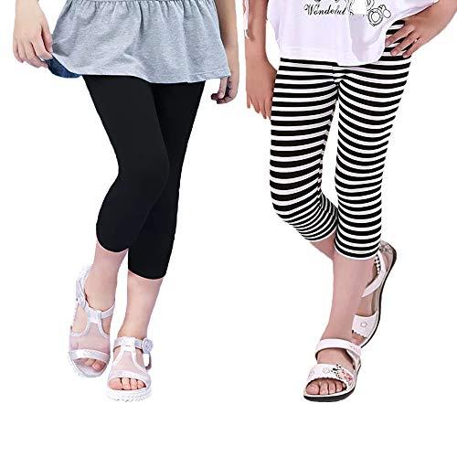 Hello Bee Capri Leggings Grils Leggings Knit Cotton Leggings for Toddler Girls/Little Girls(Black/Black&White Stripe) (White Black Stripe-Black, -