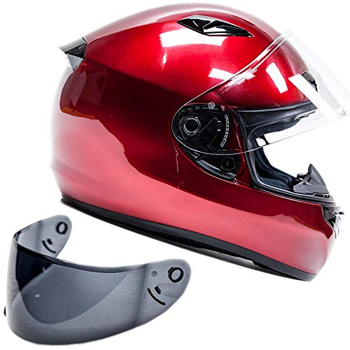Helmet Modular Red Candy - Snell M2015 Approved Full Face Motorcycle Helmet (Large - Red)