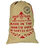 Nicola Spring Christmas Stocking, Hessian Gift Sack - 'These Presents Were Made In The North Pole'