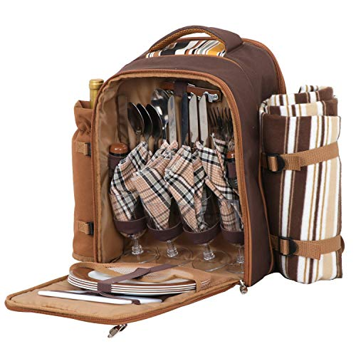 HomGarden Picnic Backpack Set for 4 Person with Cooler Compartment, Detachable Bottle/Wine Holder, Fleece Blanket, Flatware and Plates (Brown)