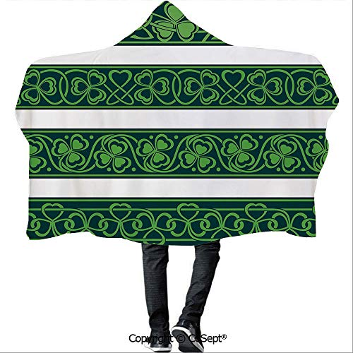 - SCOCICI Polyester Hooded Blankets,Set of Four Shamrock Borders Gaelic Nature Botany Theme Artsy Trefoils Swirls,Camping Indoor Outdoor Travel(59.05x51.18 inch),Forest Green White