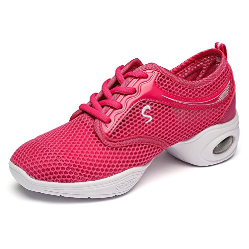 Hroyl Womens Öka Dans Sneaker Jazz Sneaker Läder Och Mesh Övre Att Du Tycker Om Att Dansa Modell T11 Ros