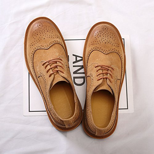 de 2018 Hombre Zapatos Británico Británico de Hombre Zapatos Salón Zapatos Fang de Oxford de Tamaño Estilo Amarillo Cordones Tacón Plano Amarillo shoes de con 41 Estilo Color EU Hqfx0Aw5