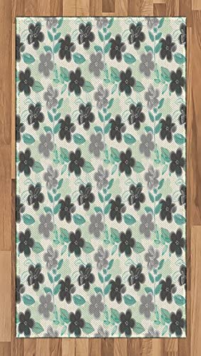Ambesonne Floral Area Rug, Abstract Nostalgia Pattern with Retro Blooms and Leaves Romantic, Flat Woven Accent Rug for Living Room Bedroom Dining Room, 2.6 x 5 , Charcoal Grey