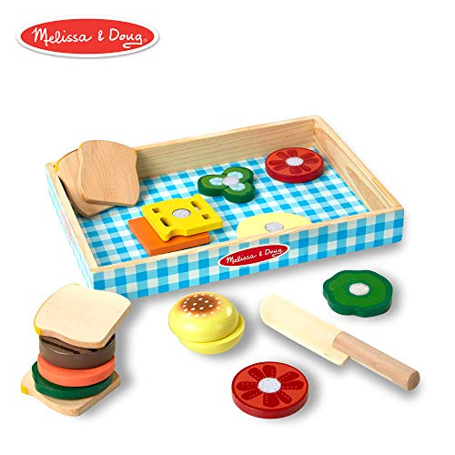 Cutting Bread Set - Melissa & Doug Sandwich-Making Set (Wooden Play Food, Wooden Storage Tray, Materials, 16 Pieces)