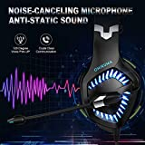Stereo Gaming Headset, DIOWING,【Upgraded 7.1 Bass Surround Sound】 Over Ear Headphones with Mic for PS4, PC, Xbox One Controller, LED Light, Soft Memory Earmuffs for Laptop Mac Nintendo Switch Games