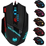 Zelotes T90 Professional 9200 DPI High Precision USB Wired Gaming Mouse,8 Buttons,With 7 kinds modes of LED Colorful Breathing Light, Weight Tuning Set (Black)