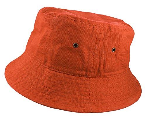 (Gelante 100% Cotton Packable Fishing Hunting Sunmmer Travel Bucket Cap Hat 1900-Orange-L/XL)