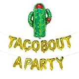 Taco Bout A Party Gold Balloons | Fiesta Theme Party Decorations for Baby Shower, Pregnancy Announcement | Fiesta Theme Party Supplies