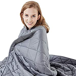 "Gut Health Shop 51RuH2SDm5L._SS300_ Hypnoser Weighted Blanket Twin Size (15 lbs 48""x72"" ) for Kids and Adults 