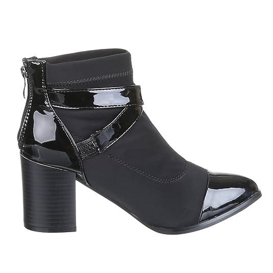 Ital-Design Damen Schuhe, LL15A29-3, Stiefeletten, mit DEKOSCHNALLEN  VERSEHENE, Synthetik in Hochwertiger Lacklederoptik, Schwarz, Gr 41:  Amazon.de: Schuhe ...