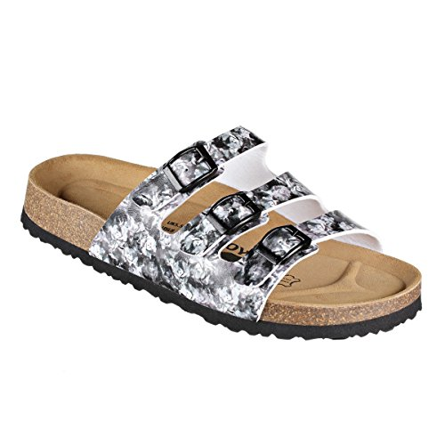 JOE N JOYCE Paris SynSoft Suelo blando Flower sandalias estrecho White/Grey