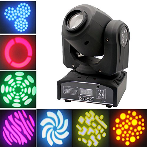 YMHWWW LED Moving Head Light Spot 4 Color Gobos Light 30W DMX with Show KTV Disco DJ Party for Stage Lighting (1PCS)
