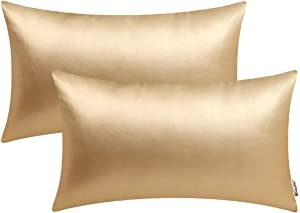BRAWARM Pack of 2 Cozy Bolster Pillow Covers Cases for Couch Sofa Home Decoration Solid Dyed Soft Faux Leather Both Sides 12 X 20 Inches Gold