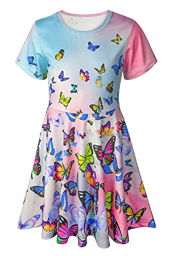 Pink Animal Print Dress - Asylvain Toddler Girl's Dress Blue and Pink Color 3D Animal Print Design Skirt Swing Dress for Party, 2-3 Years