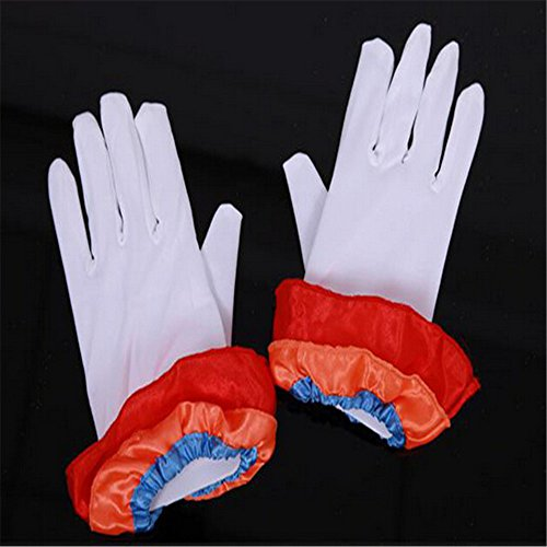 Lsinyan Ladies Mens White Short Wrist Gloves Captain Clown Magician Fancy Dress Parade Catering Cosplay (Fancy Dress Magician)