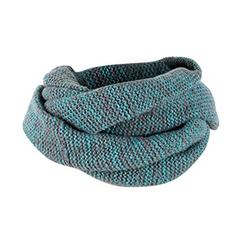 DEATU Clearance Lovers Scarf Winter Solid Gradient Warm Knit Double Ring Scarf Shawl (a-Blue,46cm/18.1'') from DEATU
