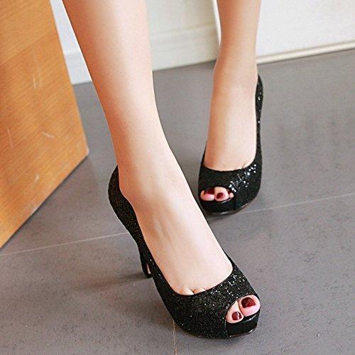 COOLCEPT Mujer Moda Sin Cordones Tacon de Aguja Bombas Zapatos Peep Toe Zapatos Negro