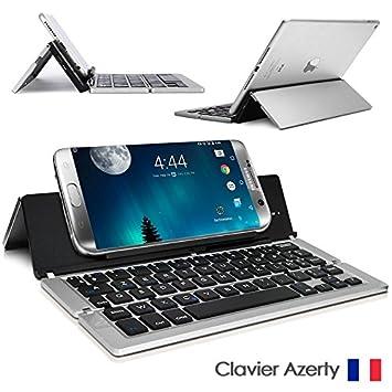 Seluxion – Teclado Bluetooth teclado francés AZERTY francés, inalámbrico materia aluminio color acero plegable de