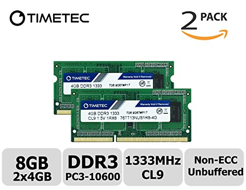 Timetec Hynix IC 8GB Kit (2x4GB) DDR3 1333MHz PC3-10600 Non ECC Unbuffered 1.5V CL9 1Rx8 Single Rank 204 Pin SODIMM Laptop Notebook Computer Memory Ram Module Upgrade(High Density 8GB Kit - Pc Components Aopen Mini