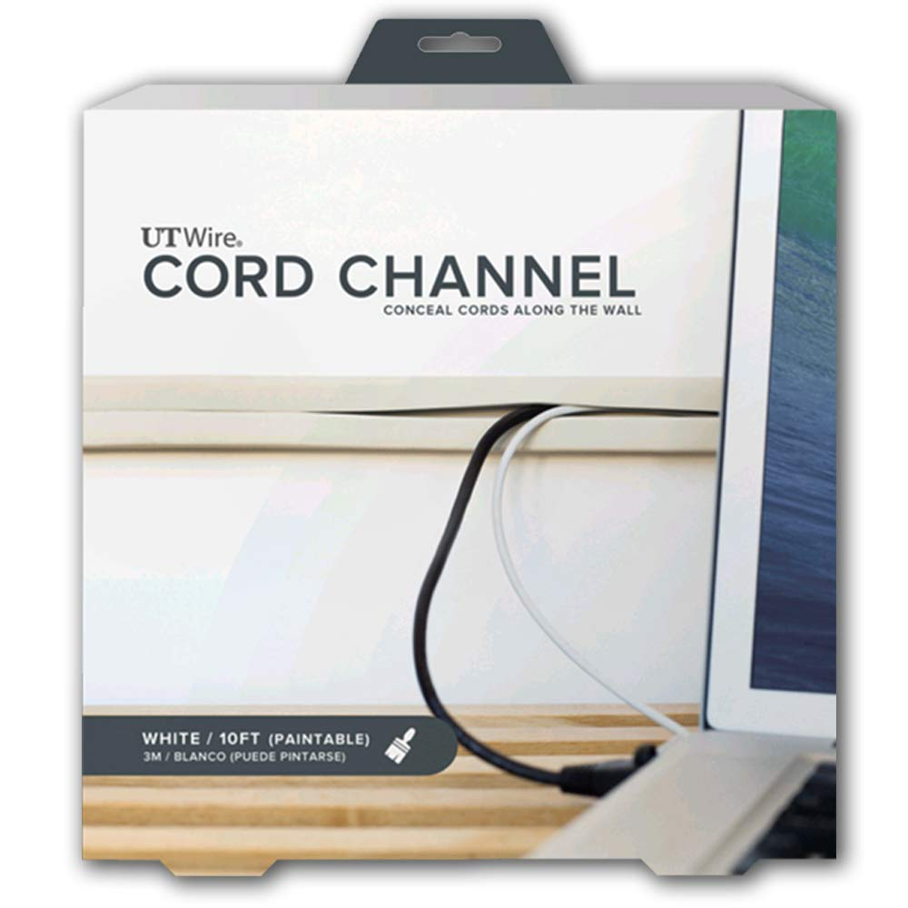 UT Wire UTW-CC1001-WH 10-Feet Cord Channel Raceway, Paintable White