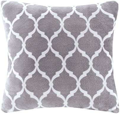 Madison Park Ogee Plush Square D cor Throw-Pillow Super Soft Cover with Insert, 20×20, Grey