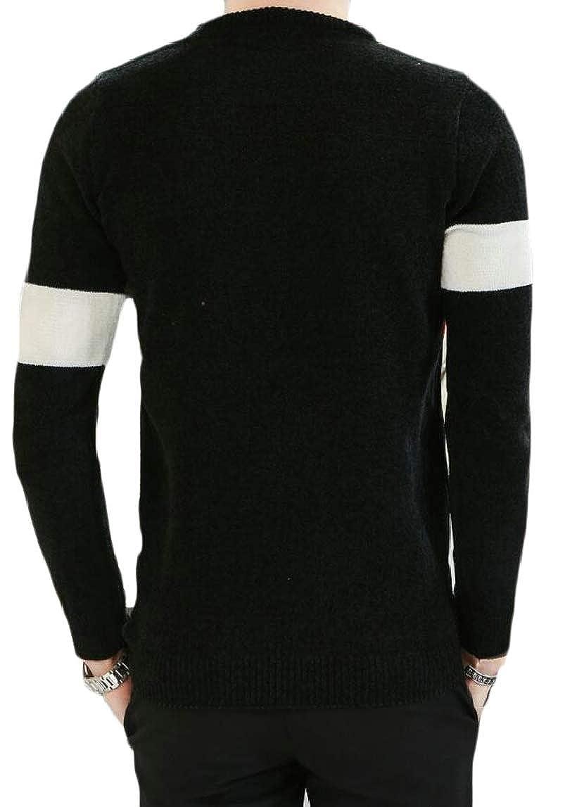 HTOOHTOOH Mens Slim Knitting Leisure Crewneck Color Block Pullover Sweaters