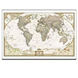 Canvas Wall Art, World Map,Scan the Globe At Home,Travel Around the World with Map,Rich Life,Canvas Art,Framed and Stretched Ready to Hang on,24x36inches, Canvas Print Picture
