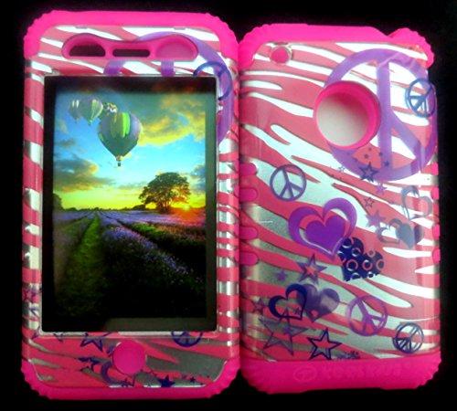 NE CASE + MAGENTA HOT PINK SKIN FOR APPLE IPHONE 3G 3GS PEACE PINK ZEBRA (Iphone 3g Zebra)