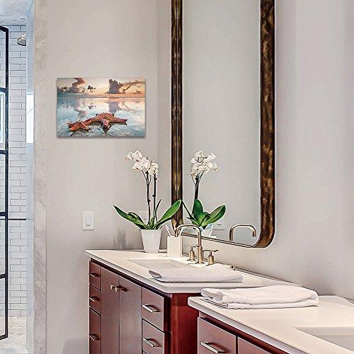 SUMGAR Beach Themed Bathroom Decor Seascape Wall Prints on Canvas Artwork for Bedroom,16x24inch