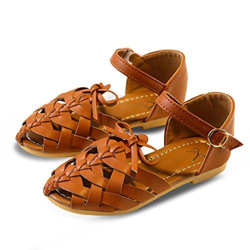 Scothen Niñas zapatos de la princesa huecos decorativos zapatos estudiantes boda sandalia de cuero zapatos de baile de la mariposa niños bucle partido relucientes ventas cargadores del tobillo Brown