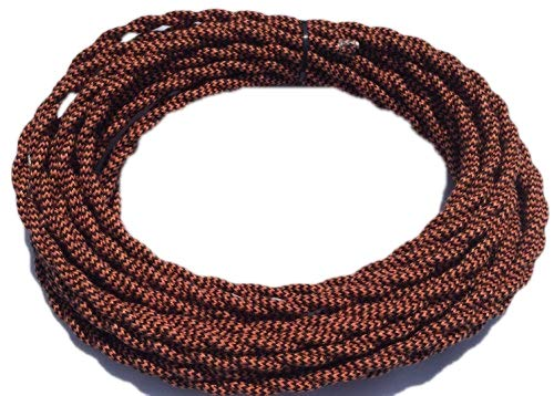 - 25' Black/Burnt Copper Cloth Cord - 25 ft Vintage Style Twisted Wire Lamp or Speaker wire - 18/2 electrical Cloth Cord