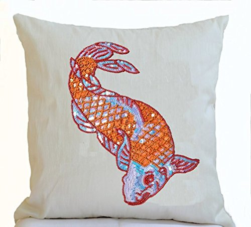 Amore Beaute Handcrafted Decorative Throw Pillow Cover In Ivory Dupioni Art Silk With Sequin Embroidered Orange Japanese Koi Carp Fish Cushions Wedding Gift Engagement Gift Creative Valentines ()