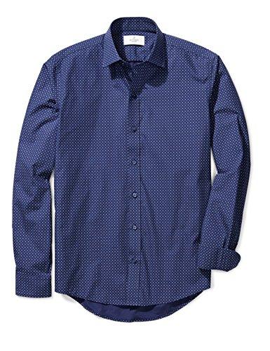 Buttoned Down Men's Slim Fit Spread-Collar Pattern, Navy/Blue Geo, XL 36/37