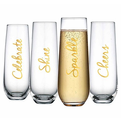 Home Essentials & Beyond Cellini Stemless Champagne Flutes in Gold | Set of 4