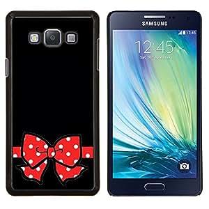Negro Lunares rojos del regalo Arco- Metal de aluminio y de plástico duro Caja del teléfono - Negro - Samsung Galaxy A7 / SM-A700