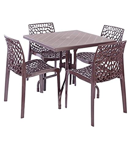 Dzyn Furnitures Outdoor Set (4 Web Chairs + 1 Olive Table) Brown