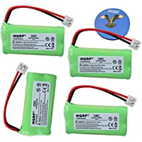 HQRP 4-PACK Battery for AT&T LUCENT BT8001 BT184342 BT284342 3101 3111 89-1330-00-00 89-1335-00-00 GE 5-2754 Philips SJB-2121 Cordless Phone + Coaster