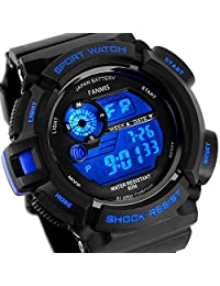Fanmis S-Shock Multifunction Digital LED Watch Military Waterproof Electronic Alarm Sports Watches Blue