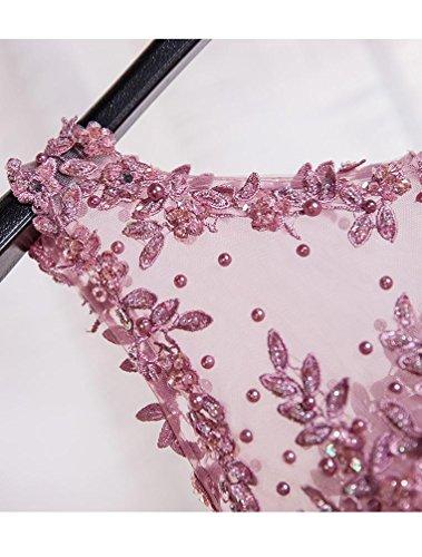 Beauty-Emily Sin mangas del Encaje del O-Cuello de la rodilla-longitud de los vestidos del coctel transparente Lilac