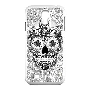 Diy Beautiful Aztec Sugar Skull Custom Cover Phone Case for samsung galaxy s4 White Shell Phone [Pattern-4]