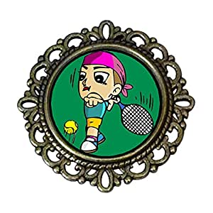 Chicforest Ancient Style Olympics tennis player forehand cartoon Flower Pin Brooch