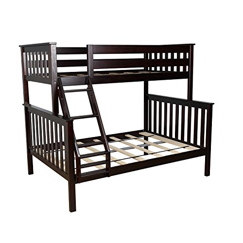 Kids Full Wood - Max & Lily Solid Wood Twin over Full Bunk Bed, Espresso