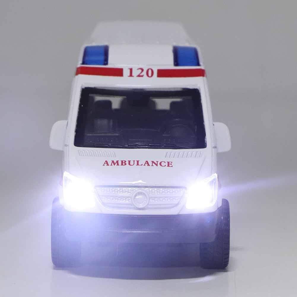 mod/èle de v/éhicule Jouet Collection Cadeau pour Enfants de Plus de 3 Ans Zerodis 1:32 Mini Voiture de Simulation en Alliage Ambulance avec Son et lumi/ère Rouge