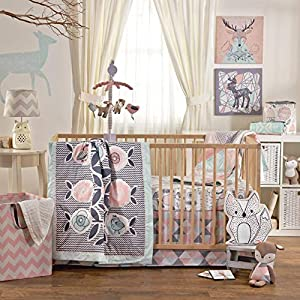 Lolli Living 4-Piece Baby Bedding Crib Set with Sparrow Pattern. Complete Set with Quilt, 2 Fitted Sheets, and Bed Skirt…