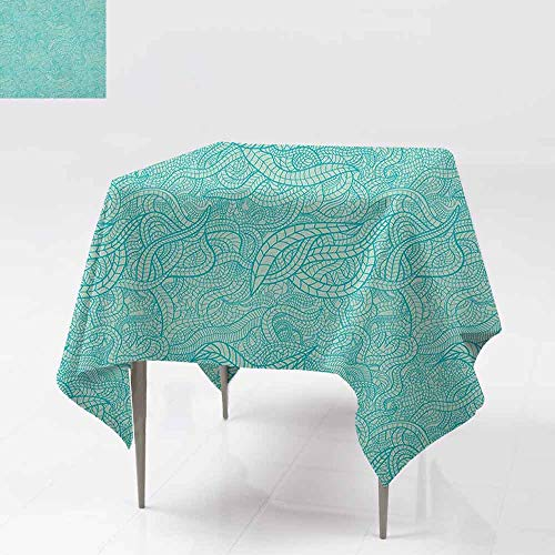 - AndyTours Fashions Table Cloth,Aqua,Vintage Botanic Nature Leaves Veins Swirls Ivy Mosaic Inspired Image Print,Table Cover for Dining,60x60 Inch Turquoise and White