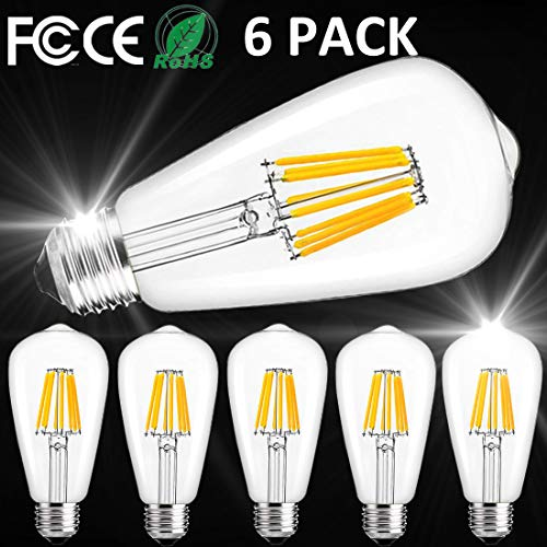 2700k Filament Edison Bulbs Clear 6pack 60watt Glass Vintage Medium Dimmable CoveE26 Equivalent Base Led Bulb 6w Light GqzSpLUMV